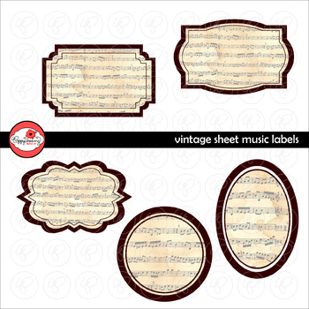 Vintage Sheet Music Frames and Labels by Poppydreamz