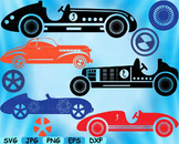 Vintage Sport Cars Antique SVG Clip Art truck toy gear wheel race vehicle -108S