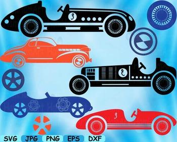 Vintage Sport Cars Antique SVG Clip Art truck toy gear wheel race vehicle -108S