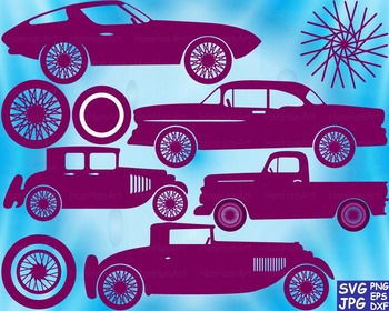 Vintage Sport Cars Antique SVG Clip Art truck toy gear wheel race vehicle -59S