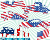 Vintage Sport Cars Hot Rod Sport 4th of July clipart birthday patriotic -314S