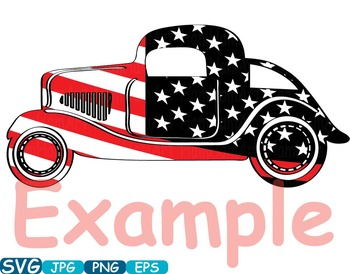 Vintage Sport Cars Hot Rod Sport 4th of July clipart birthday patriotic -335S