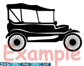 Vintage Sport Cars Monogram clip art hot rod Antique Car ClipArt  gear - 297s