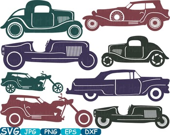Vintage Sport Cars Monogram clip art hot rod Antique Car ClipArt gear - 315s
