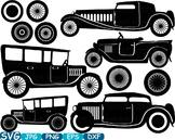 Vintage Sport Cars Monogram clip art hot rod Antique Car ClipArt gear - 317s