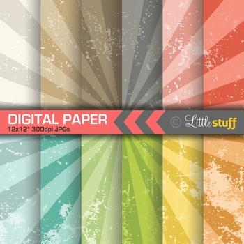 Vintage Starburst Digital Paper Pack, Grunge Texture