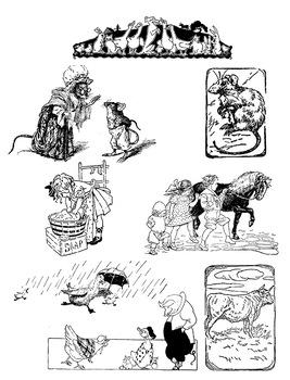 Vintage Storybook Clipart | Farm Animals, Children | Illustrations | PNG