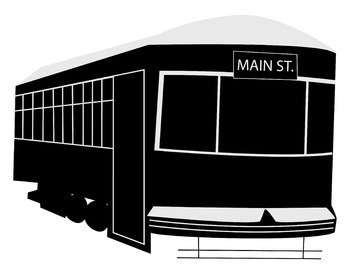 "Vintage Street Car Trolly Clip Art (8.5"" x 11"")"