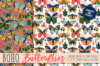 Vintage Style Butterfly and Moth Patterns