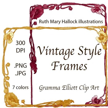 Frames - Vintage Style Flower Chains - Colors and Grayscale