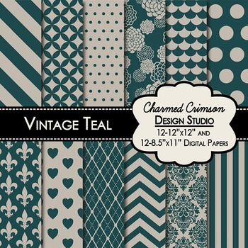 Vintage Teal Digital Paper 1285