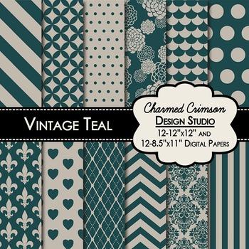 Vintage Teal Digital Paper 1285