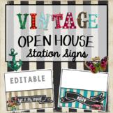 Editable Station Signs   Meet the Teacher   Vintage Theme