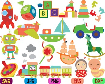 Vintage Toys cars airplane ship circus school clip art animals robot wooden -85S