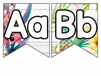 Vintage Tropical Alphabet Banner