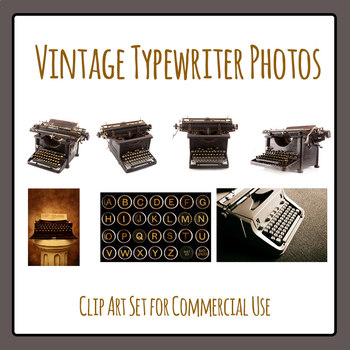 Vintage Typewriter Photo Clip Art Set for Commercial Use