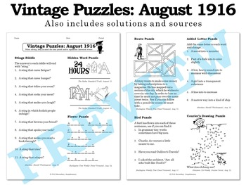Vintage U.S. History Puzzles from August 1916