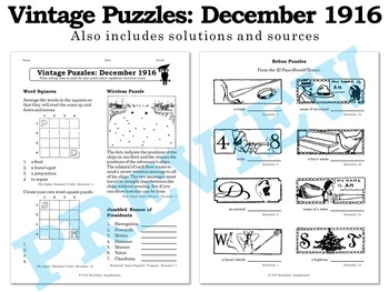 Vintage U.S. History Puzzles from December 1916