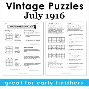 Vintage U.S. History Puzzles from July 1916
