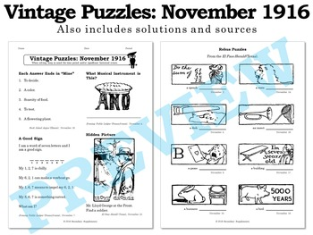 Vintage U.S. History Puzzles from November 1916