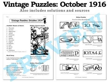 Vintage U.S. History Puzzles from October 1916