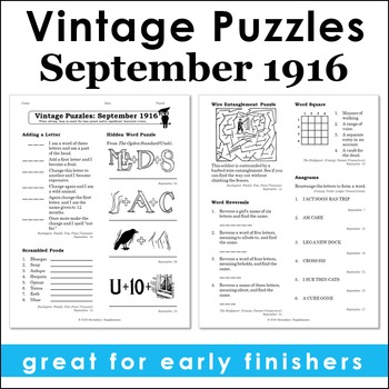 Vintage U.S. History Puzzles from September 1916