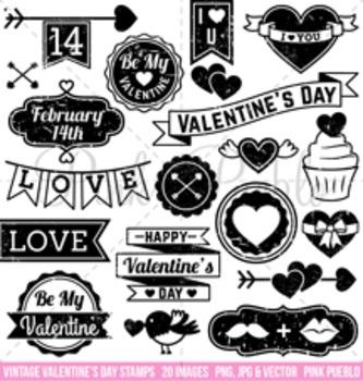 Vintage Valentine's Day Stamps Clipart Clip Art, Valentine