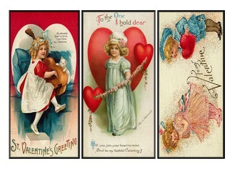 image relating to Free Printable Vintage Valentine Cards known as Cost-free Basic Valentines Working day Printable Bookmark Fixed 1