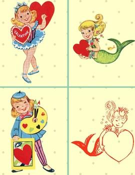 Vintage Valentines x4