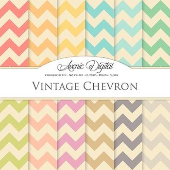 Vintage chevron Digital Paper patterns scrapbook Worn old background