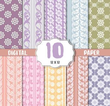Vintage floral,flower Background, Digital paper