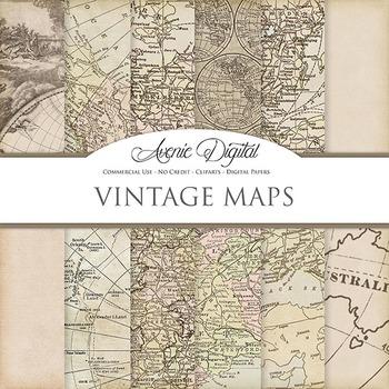 Vintage maps Digital Paper patterns scrapbook Worn old map background