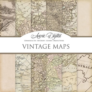 Vintage maps Digital Paper patterns scrapbook Worn old map background