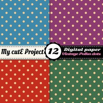 Vintage polka dots DIGITAL PAPER - Scrapbooking polka dots, vintage