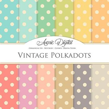 Vintage polkadots Digital Paper patterns scrapbook Worn po