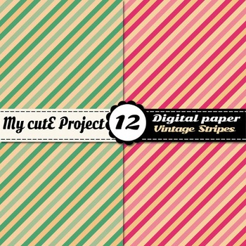 Vintage stripes DIGITAL PAPERS - Scrabooking digital - Bicolor stripes