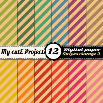 Vintage stripes DIGITAL PAPERS - Scrabooking digital - Str