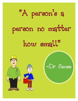 "Vinyl Graphic ""A person's a person no matter how small""  by Dr. Seuss"