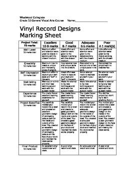 Vinyl Record Designs Marking Sheet