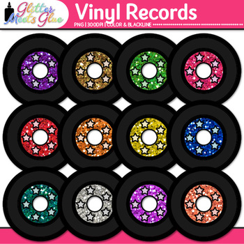 Vinyl Records Clip Art {80's Retro Music Graphics for Worksheets & Resources}