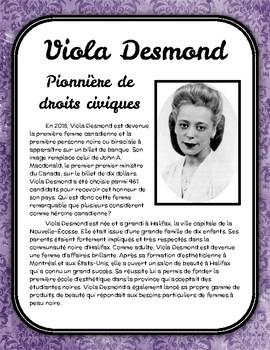 Viola Desmond - Compréhension de lecture (Mois de l'histoire des Noirs)