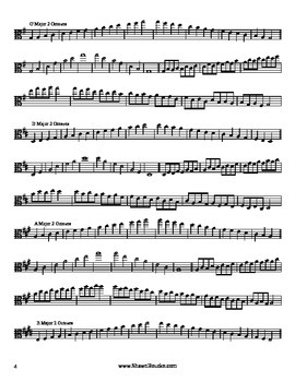 Viola Major Scales - 1 and 2 Octave