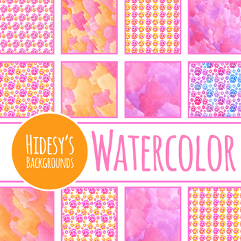 Viola / Pansy Hand Painted Watercolor Digital Papers / Backgrounds Clip Art