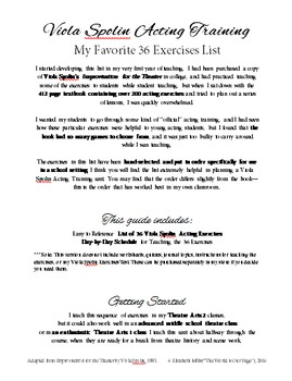 Viola Spolin Acting Technique My Favorite 36 Exercises List