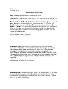 Violent Slave Rebellions