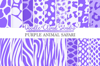 Violet Animal Safari digital paper, Animal Fur  Lilac Lavender Mauve pattern