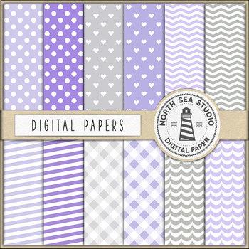 Violet Baby Elephants And Digital Paper Pack