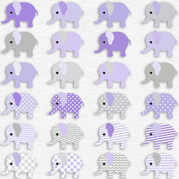 Violet Baby Elephants And Digital Paper Pack, Cute Elephant