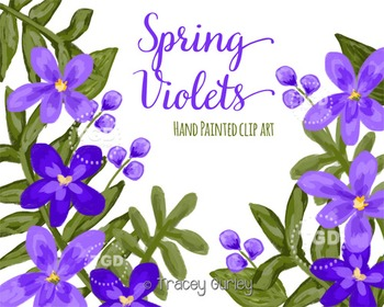 Violet Clip Art Set, Violet Flowers - Floral Clip Art Tracey Gurley Designs