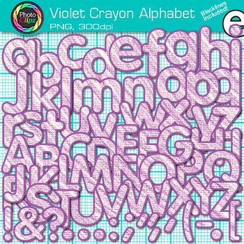 Violet Crayon Alphabet Clip Art {Great for Classroom Decor & Resources}